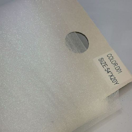 "Glitter White Tulle Fabric   54"" / 20 Y"